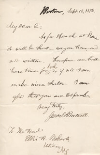GEORGE S. BOUTWELL - AUTOGRAPH LETTER SIGNED 09/18/1876
