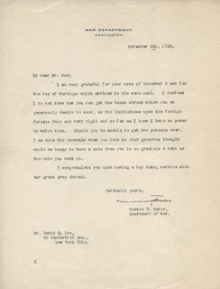 Autographs: NEWTON D. BAKER - TYPED LETTER SIGNED 11/06/1918