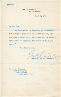 Autographs: GEORGE B. CORTELYOU - TYPED LETTER SIGNED 03/08/1902