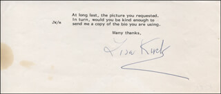 LISA KIRK - TYPED NOTE SIGNED