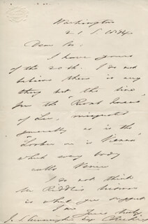 Autographs: CALEB CUSHING - AUTOGRAPH LETTER SIGNED 09/21/1874
