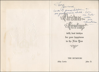 ABBY LEWIS - ANNOTATED CHRISTMAS / HOLIDAY CARD UNSIGNED