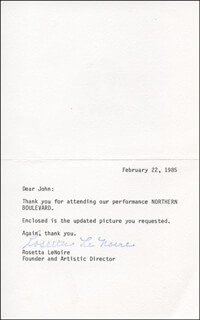 ROSETTA LE NOIRE - TYPED LETTER SIGNED 02/22/1985