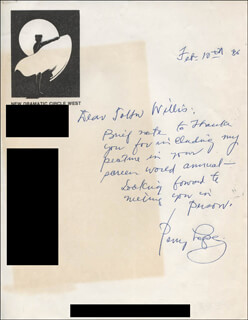 PERRY LOPEZ - AUTOGRAPH LETTER SIGNED 02/10/1986