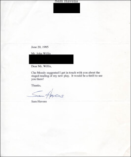 SAM HAVENS - TYPED LETTER SIGNED 06/20/1995