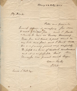 GOVERNOR DEWITT CLINTON - AUTOGRAPH LETTER SIGNED 07/28/1820