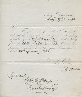 Autographs: JAMES C. DOBBIN - NAVAL APPOINTMENT SIGNED 05/19/1853