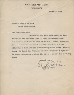 DWIGHT F. DAVIS - TYPED LETTER SIGNED 02/08/1928