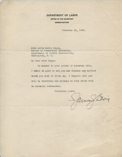 Autographs: JAMES J. DAVIS - TYPED LETTER SIGNED 11/13/1923