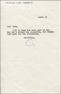 OTIS GUERNSEY - TYPED LETTER SIGNED 04/23