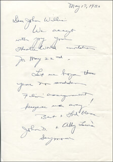 ABBY LEWIS - AUTOGRAPH LETTER SIGNED 05/17/1980