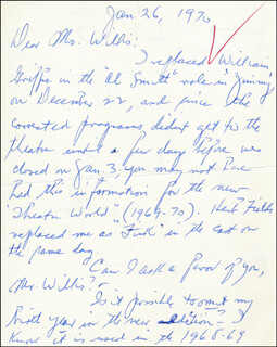 STANLEY SIMMONDS - AUTOGRAPH LETTER SIGNED 01/26/1970