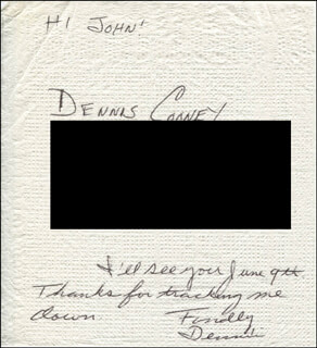 DENNIS COONEY - AUTOGRAPH NOTE SIGNED