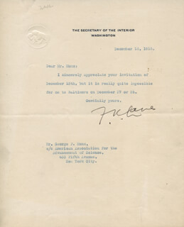 FRANKLIN K. LANE - TYPED NOTE SIGNED 12/16/1918