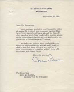 DEAN ACHESON - TYPED LETTER SIGNED 09/10/1951