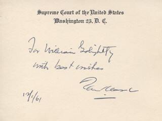 Autographs: ASSOCIATE JUSTICE TOM C. CLARK - AUTOGRAPH NOTE ON SUPREME COURT CARD SIGNED 12/01/1961