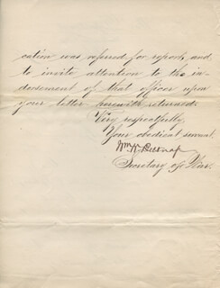 MAJOR GENERAL WILLIAM W. BELKNAP - MANUSCRIPT LETTER SIGNED 02/04/1876