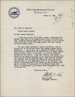HARRY S. NEW - TYPED LETTER SIGNED 03/31/1928