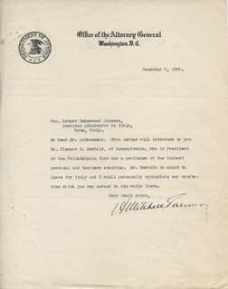 A. MITCHELL PALMER - TYPED LETTER SIGNED 12/07/1920