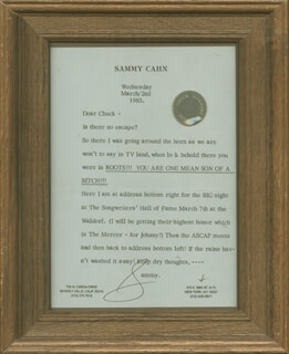 SAMMY CAHN - TYPED LETTER SIGNED 03/02/1983