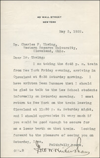 Autographs: GEORGE W. WICKERSHAM - TYPED LETTER SIGNED 05/03/1922