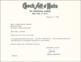 JACKIE ROBINSON - TYPED LETTER SIGNED 08/11/1961