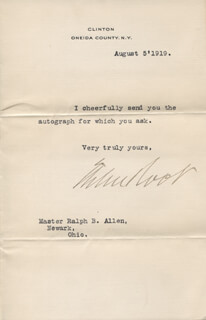 Autographs: ELIHU ROOT - TYPED NOTE SIGNED 08/05/1919