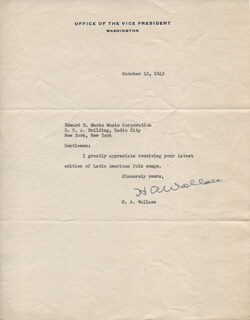Autographs: VICE PRESIDENT HENRY A. WALLACE - TYPED NOTE SIGNED 10/12/1943
