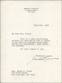Autographs: WENDELL WILKIE - TYPED LETTER SIGNED 07/08/1942