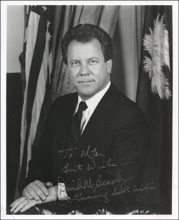 Autographs: GOVERNOR DAVID M. BEASLEY - INSCRIBED PHOTOGRAPH SIGNED