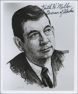 Autographs: GOVERNOR KEITH H. MILLER - PRINTED ART SIGNED