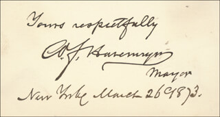 WILLIAM F. HAVEMEYER - AUTOGRAPH 03/26/1873
