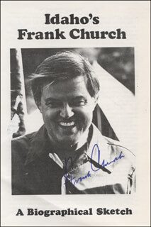 Autographs: FRANK CHURCH - PAMPHLET SIGNED