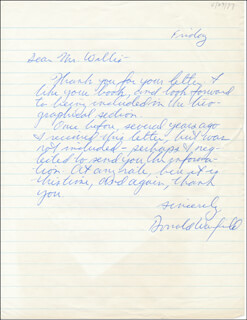 DONALD WARFIELD - AUTOGRAPH LETTER SIGNED 04/29/1977