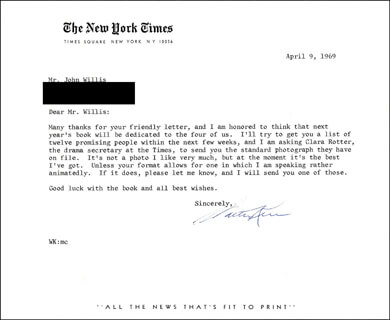 WALTER KERR - TYPED LETTER SIGNED 04/09/1969