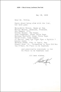 WALTER KERR - TYPED LETTER SIGNED 05/19/1969