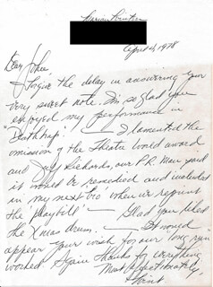 MARIAN WINTERS - AUTOGRAPH LETTER SIGNED 04/04/1978