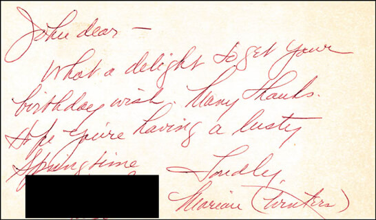 MARIAN WINTERS - AUTOGRAPH LETTER SIGNED