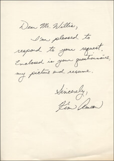 KIM AMEEN - AUTOGRAPH LETTER SIGNED