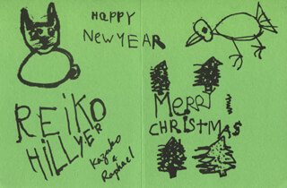 RAPHAEL HILLYER - CHRISTMAS / HOLIDAY CARD SIGNED CIRCA 1974