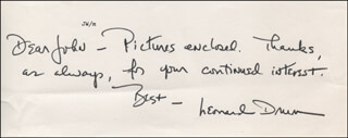 LEONARD DRUM - AUTOGRAPH NOTE SIGNED