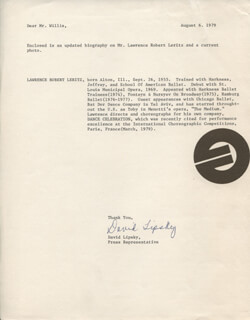 DAVID LIPSKY - TYPED LETTER SIGNED 08/06/1979