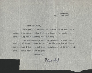 PIERRE OLAF - TYPED LETTER SIGNED 04/23/1961