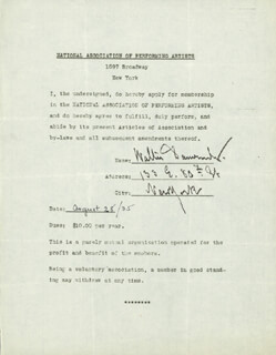 WALTER J. DAMROSCH - DOCUMENT SIGNED 08/28/1935
