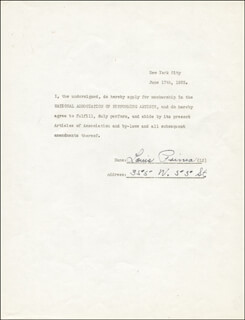 LOUIS PRIMA - ANNOTATED DOCUMENT SIGNED 06/17/1935