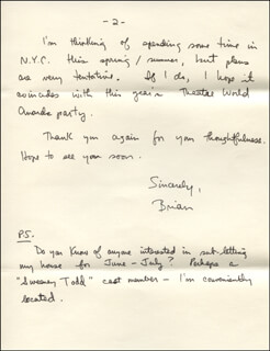 BRIAN FARRELL - AUTOGRAPH LETTER SIGNED 04/07/1981