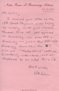 KATE SHEIN - AUTOGRAPH LETTER SIGNED 12/06/1985