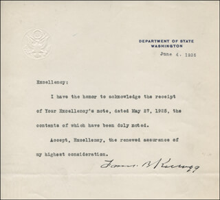 Autographs: FRANK B. KELLOGG - TYPED LETTER SIGNED 06/04/1925