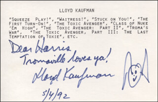 LLOYD KAUFMAN - AUTOGRAPH NOTE SIGNED 05/04/1992