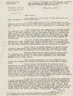 ROBERT STOLZ - TYPED LETTER SIGNED 06/01/1946